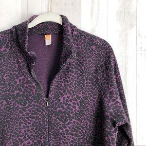 Lucy Jackets & Coats - [Lucy] Activewear Leopard Print Half Zip Pullover